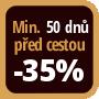 Při objednání minimálně 50 dnů před zahájením pobytu získáte slevu 35% z celé ceny ubytování.
